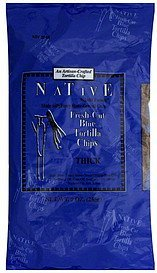 tortilla chips blue, fresh-cut, thick Native Kjalii Foods Nutrition info