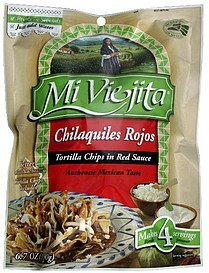 tortilla chips in red sauce chilaquiles rojos Mi Viejita Nutrition info