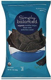 tortilla chips organic, blue corn with flax seed Simply Balanced Nutrition info