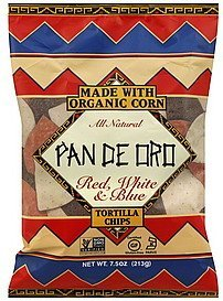 tortilla chips red, white & blue Pan De Oro Nutrition info