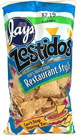 tortilla chips restaurant style, pre priced Zestidos Nutrition info