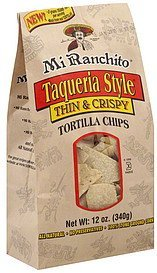 tortilla chips thin & crispy, taqueria style Mi Ranchito Nutrition info