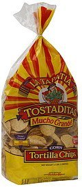 tortilla chips tostaditas, corn La Tapatia Nutrition info
