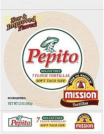 tortillas flour 96% fat free soft taco size Pepito Nutrition info