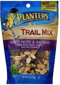 trail mix mixed nuts & raisins Planters Nutrition info