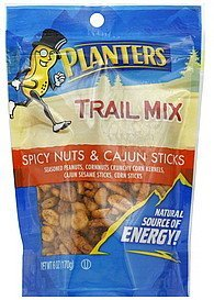 trail mix spicy nuts & cajun sticks Planters Nutrition info