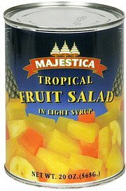 tropical fruit salad in light syrup Majestica Nutrition info