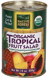 tropical fruit salad organic, in organic pineapple & passionfruit fruit juices Native Forest Nutrition info