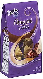 truffles amavel, chocolate creme, with wafer crisp center Milka Nutrition info