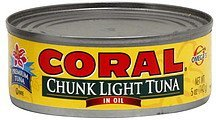 tuna chunk light, in oil Coral Nutrition info