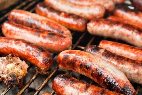 turkey and pork sausage, fresh, bulk, patty or link, cooked usda Nutrition info