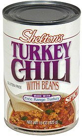 turkey chili with beans, spicy Sheltons Nutrition info