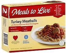 turkey meatballs with marinara sauce over whole wheat spaghetti Meals to Live Nutrition info
