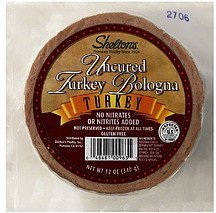 uncured turkey bologna Sheltons Nutrition info
