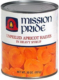 unpeeled apricot halves in heavy syrup Mission Pride Nutrition info