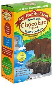 vanilla cookies chocolate dipped, brown bear My Family Farm Nutrition info
