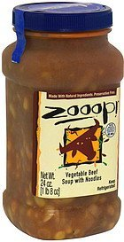 vegetable beef soup with noodles Zooop! Nutrition info