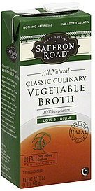 vegetable broth classic culinary, low sodium Saffron Road Nutrition info