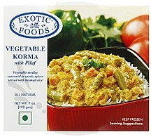 vegetable korma with pilaf Exotic Foods Nutrition info