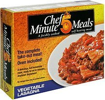 vegetable lasagna Chef 5 Minute Meals Nutrition info