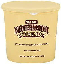 vegetable oil spread 65%, whipped, buttermatch blend Shedds Nutrition info