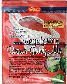 vegetarian brown gravy mix instant The Organic Gourmet Nutrition info