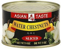 water chestnuts sliced Asian Taste Nutrition info