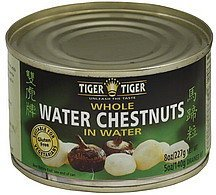 water chestnuts whole, in water Tiger Tiger Nutrition info