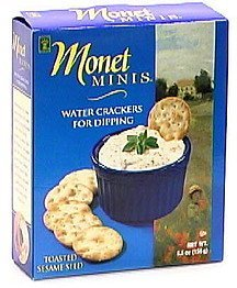 water crackers for dipping, toasted sesame seed Monet Minis Nutrition info