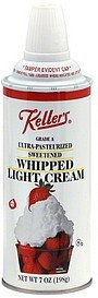 whipped cream light, sweetened Kellers Nutrition info