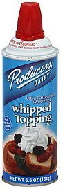whipped topping Producers Nutrition info