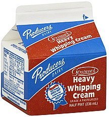 whipping cream heavy, gourmet Producers Nutrition info