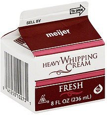 whipping cream heavy Meijer Nutrition info