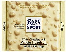 white chocolate with whole hazelnuts Ritter Sport Nutrition info