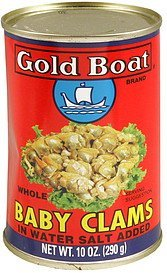 whole baby clams in water, salt added Gold Boat Nutrition info