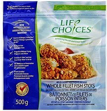 whole fillet fish sticks wild caught, multigrain breaded Life Choice Nutrition info