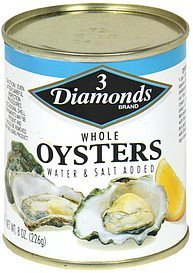 whole oysters whole oyster, water & salt added 3 Diamonds Nutrition info