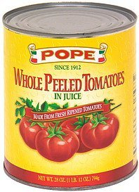 whole peeled tomatoes in juice Pope Nutrition info