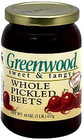whole pickled beets sweet & tangy Greenwood Nutrition info