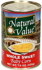 whole sweet baby corn Natural Value Nutrition info