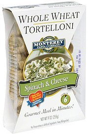 whole wheat tortelloni spinach & cheese Monterey Pasta Company Nutrition info