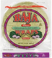 wraps burrito size, spinach with garlic & pesto Baja Nutrition info