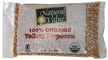 yellow popcorn 100% organic Natural Value Nutrition info