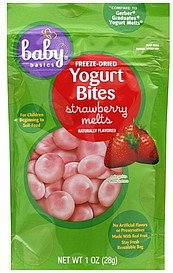 yogurt bites freeze-dried, strawberry melts Baby Basics Nutrition info