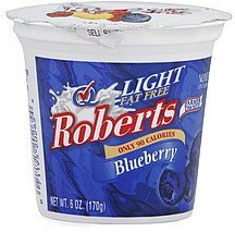 yogurt light, fat free, blueberry Roberts Nutrition info