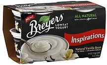 yogurt lowfat, natural vanilla bean Breyers Nutrition info