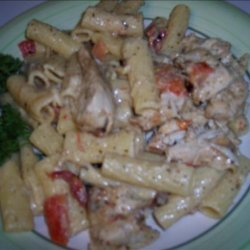 Grilled Chicken Rigatoni With Pesto Alfredo Sauce