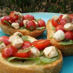 Cherry Tomato, Bocconcini and Basil Bruschetta
