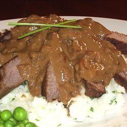Bourbon, Brown Sugar Flank Steak W/ Garlic-chive Mashed Potatoes