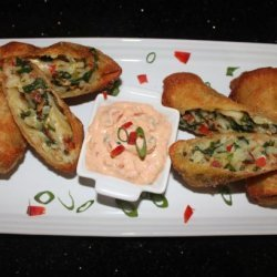 Potato, Spinach and Goat Cheese Eggrolls With Sundried Tomato